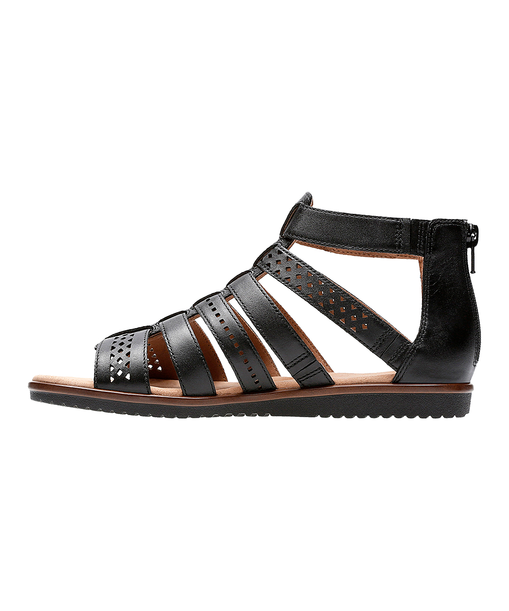 f90d09522755 ... Womens Black Leather Black Leather Kele Lotus Diamond-Perforated Gladiator  Sandal - Alternate Image 2 ...