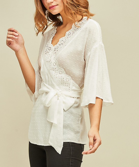 e49faf1b761427 ... Womens OFF WHITE Off-White Swiss-Dot Wrap Top - Alternate Image 2 ...