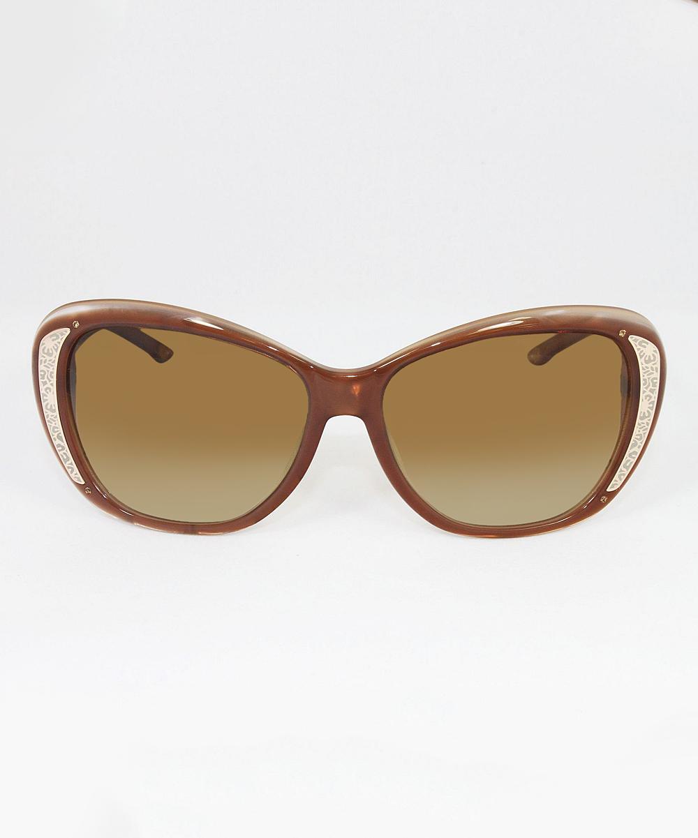 25c30f3e14f ... Womens Brown Gradient Polarized Tahitian Dune   Caramel Oversize  Sunglasses - Alternate Image 2
