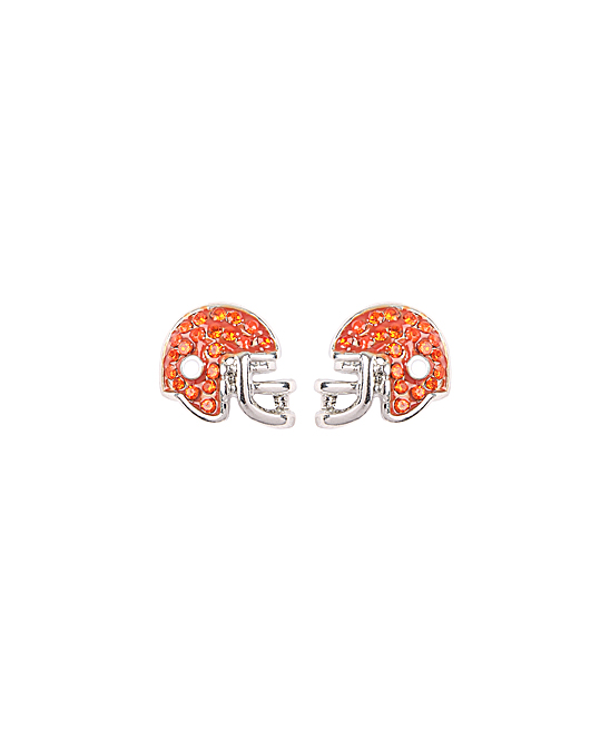 Orange Football Helmet Stud Earrings Orange Football Helmet Stud Earrings. Show off your football spirit with these charming stud earrings featuring a mesmerizing football-inspired design. Base metal /  clear glassImported