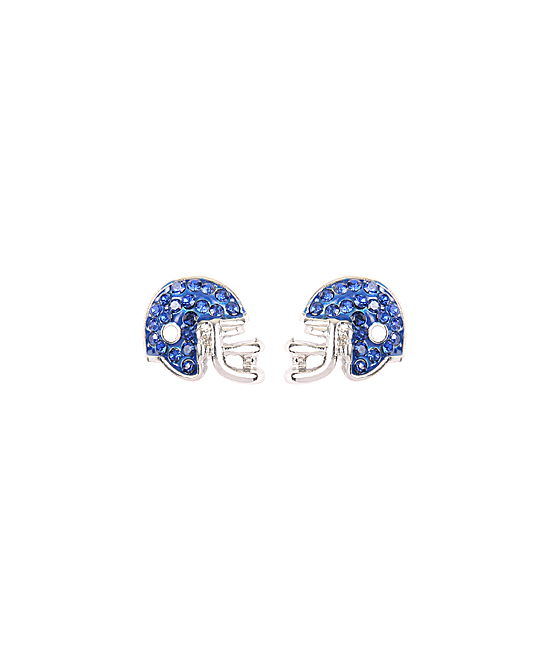 Blue Football Helmet Stud Earrings Blue Football Helmet Stud Earrings. Show off your football spirit with these charming stud earrings featuring a mesmerizing football-inspired design. Base metal / clear glassImported