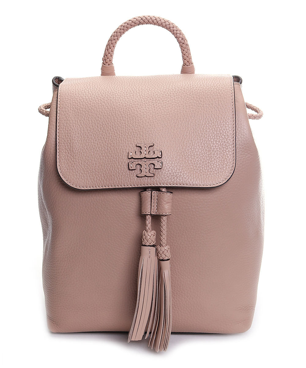 84e41395a Tory Burch Devon Sand Taylor Leather Backpack