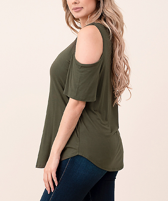 0801c289ee37f Hippie Chic Olive Keyhole Cold-Shoulder Top - Women