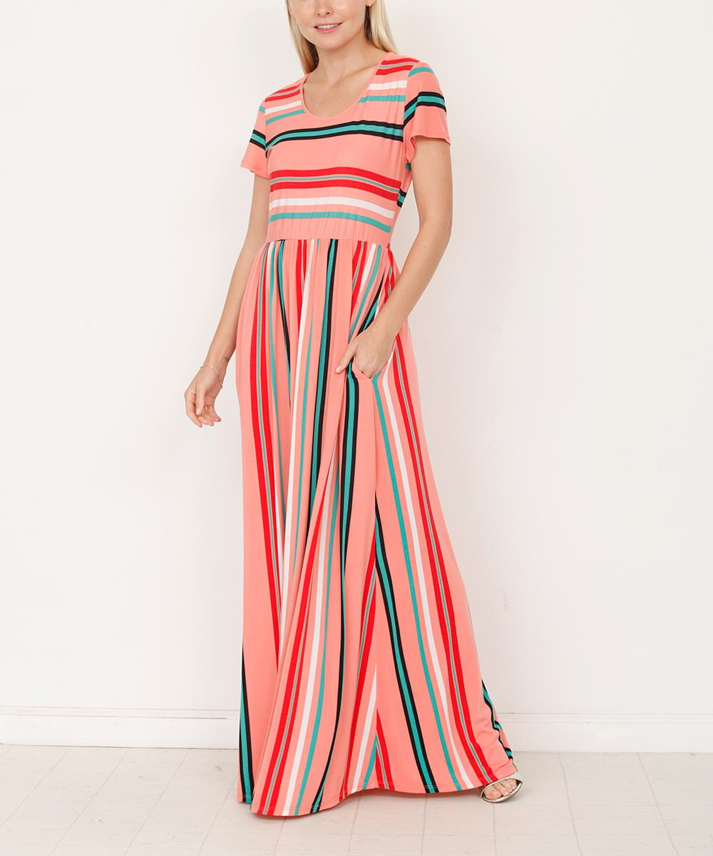 egs by éloges Coral Stripe Short-Sleeve Maxi Dress - Women  be68f88b0