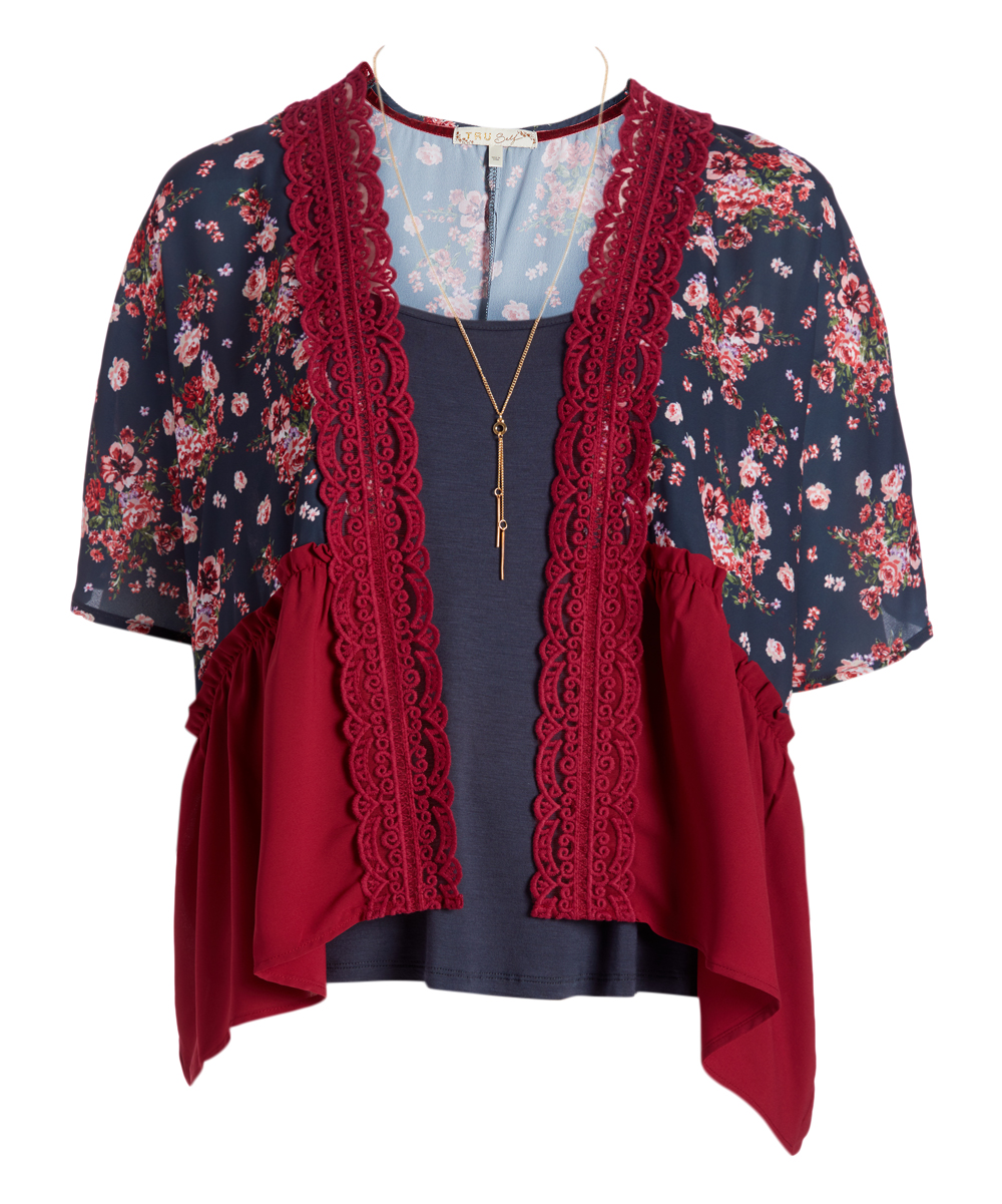 Tru Self Red Navy Floral Crochet Trim Kimono Camisole Set Plus