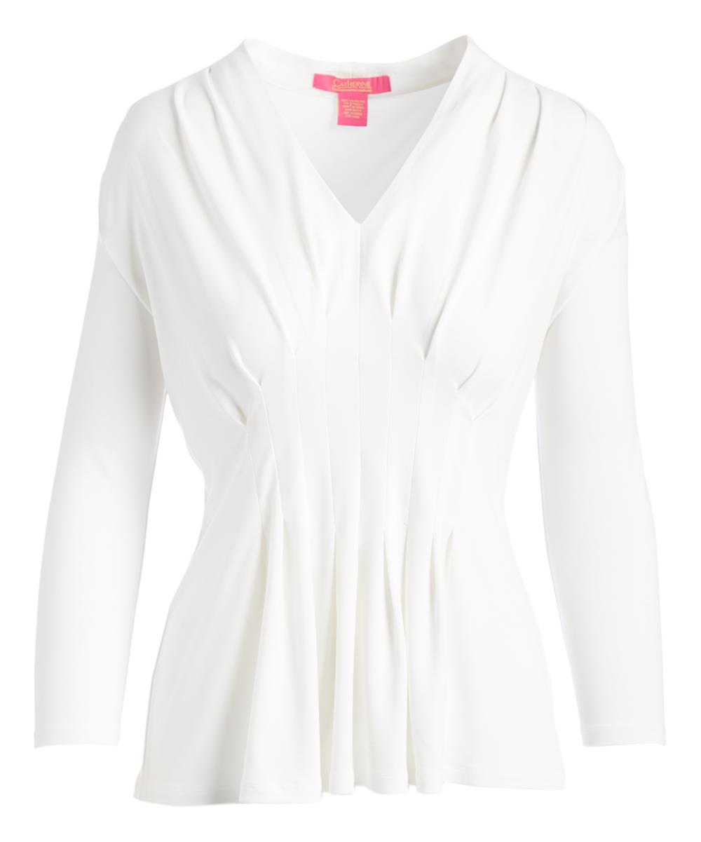 505798932df Catherine Catherine Malandrino White Star Pleated V-Neck Long-Sleeve ...
