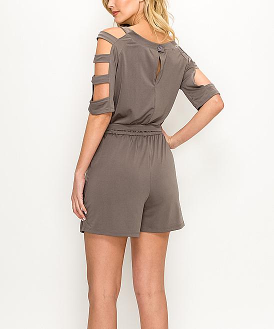 75d3c5d91386 love this product Khaki Slit-Sleeve Romper - Women