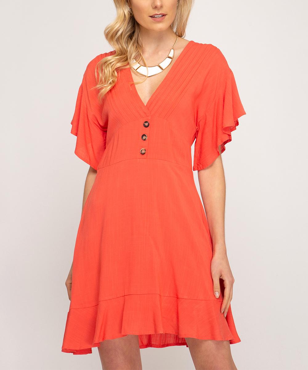 e60b343eede4 Coral Flutter-Sleeve Button-Front V-Neck Dress - Women   Zulily