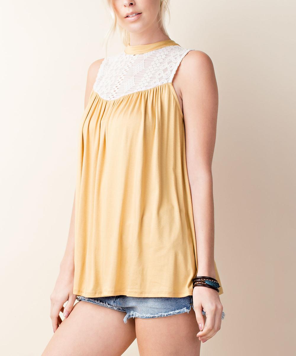 515c55d106552 ... Womens MUSTARD Mustard   White Lace-Yoke Sleeveless Top - Alternate  Image ...