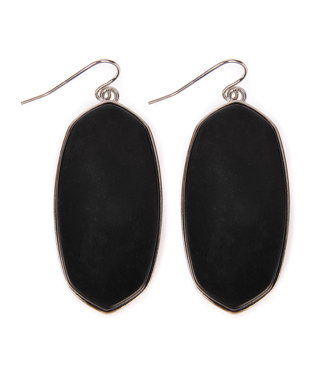 Black & Silvertone Drop Earrings Black & Silvertone Drop Earrings. Finish your look with an edgy shine when you don these simple black earrings. 1'' W x 2'' LSilvertone base metal / black glassImported