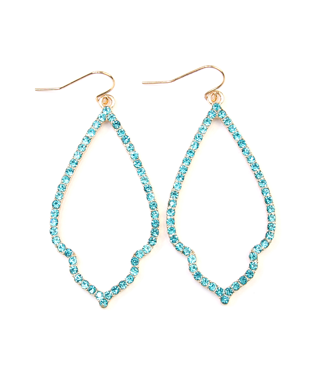 Aqua Rhinestone & Goldtone Moroccan Drop Earrings Aqua Rhinestone & Goldtone Moroccan Drop Earrings. Enliven your ensemble with this pair of rhinestone studded drop earrings that offer youthful sparkle and an elegant silhouette. 1'' W x 3'' LGoldtone metal / rhinestoneImported