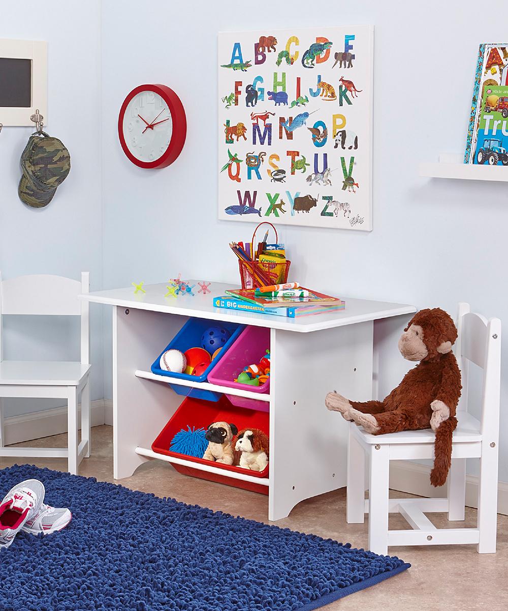 White Storage Table & Chair Set
