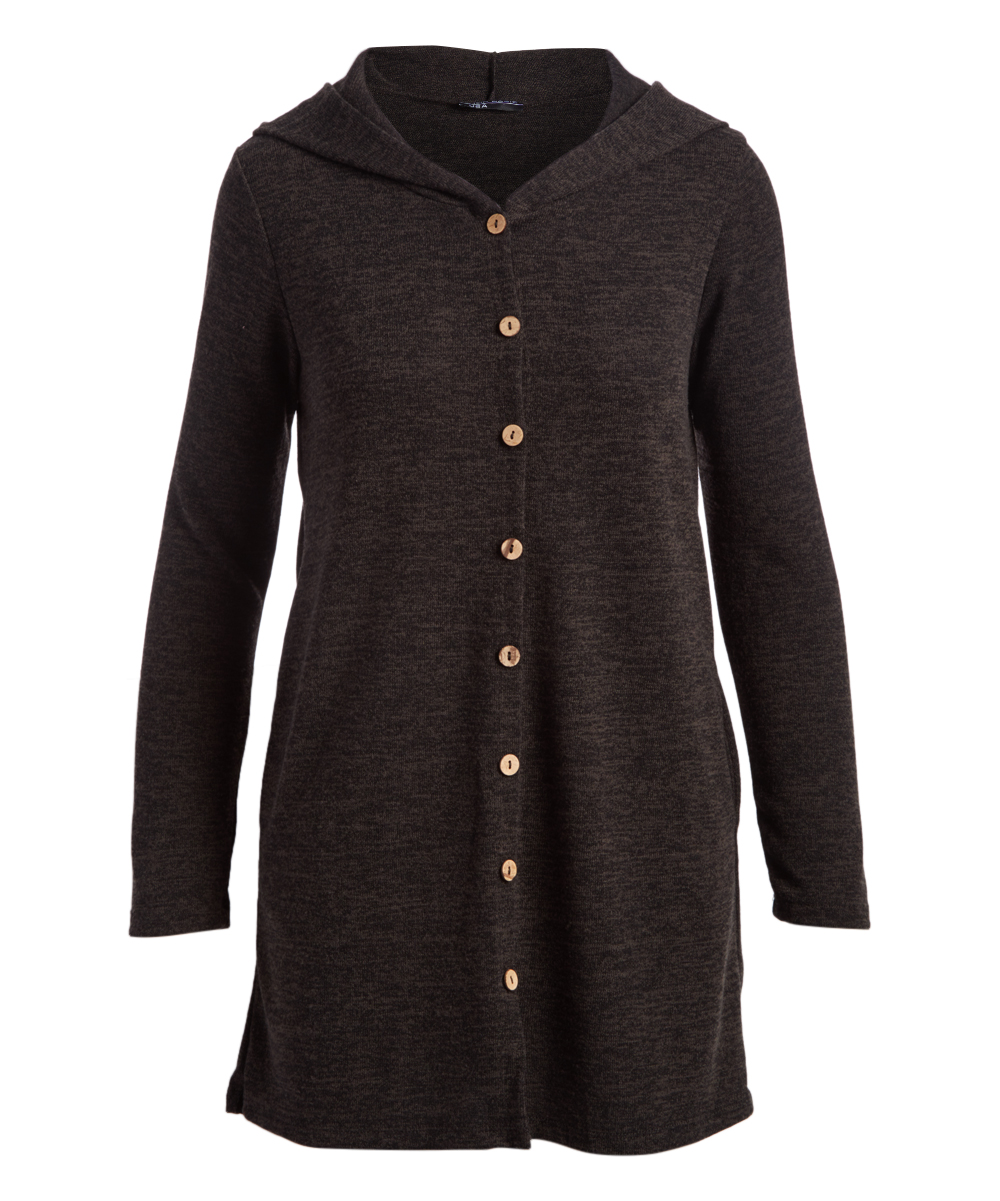 Shop Basic USA Women's Tunics CHARCOAL - Charcoal Lightweight Hooded Pocket Tunic - Women