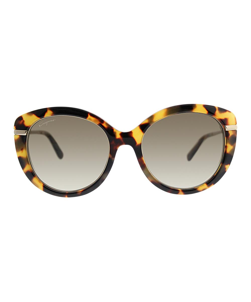 7b218ad05f0e1 Ferragamo Brown Tortoise Round Sunglasses
