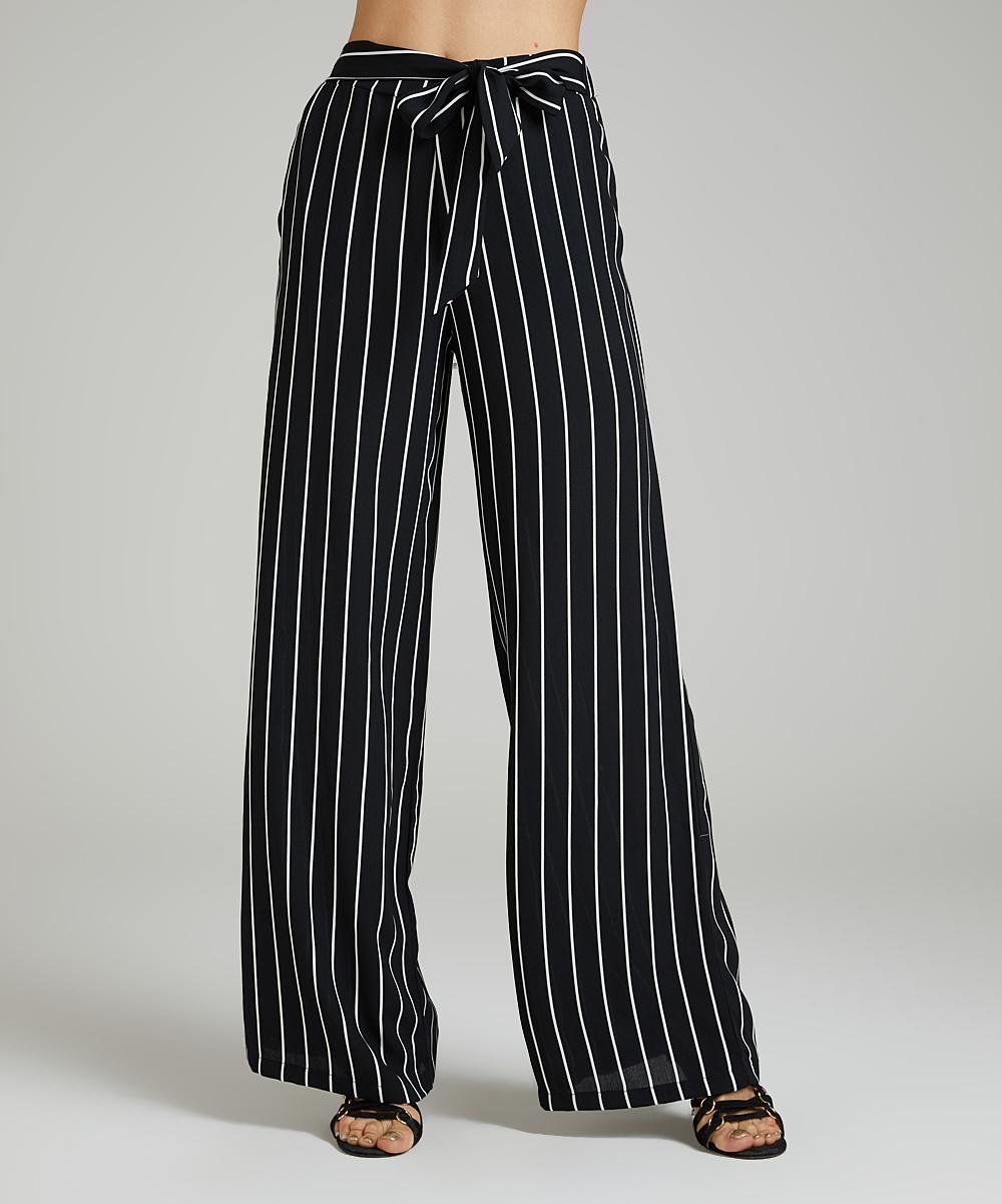 1ba9a7c87c0fe7 Black   White Stripe Tie-Front Palazzo Pants - Women   Plus