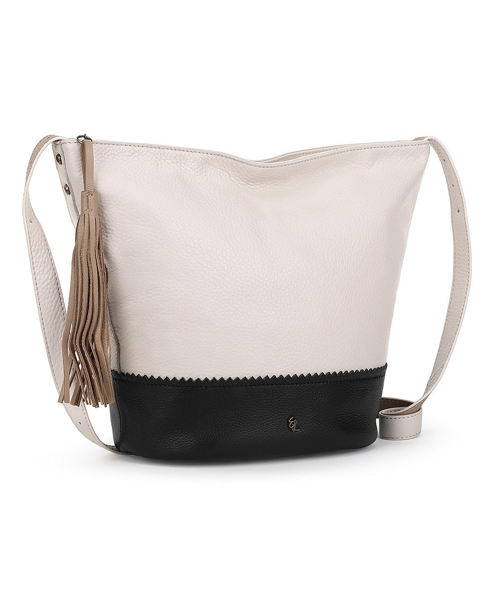 2390f6108 ... Womens ST&BAR BLC White & Black Wilshire Leather Crossbody Bag -  Alternate ...
