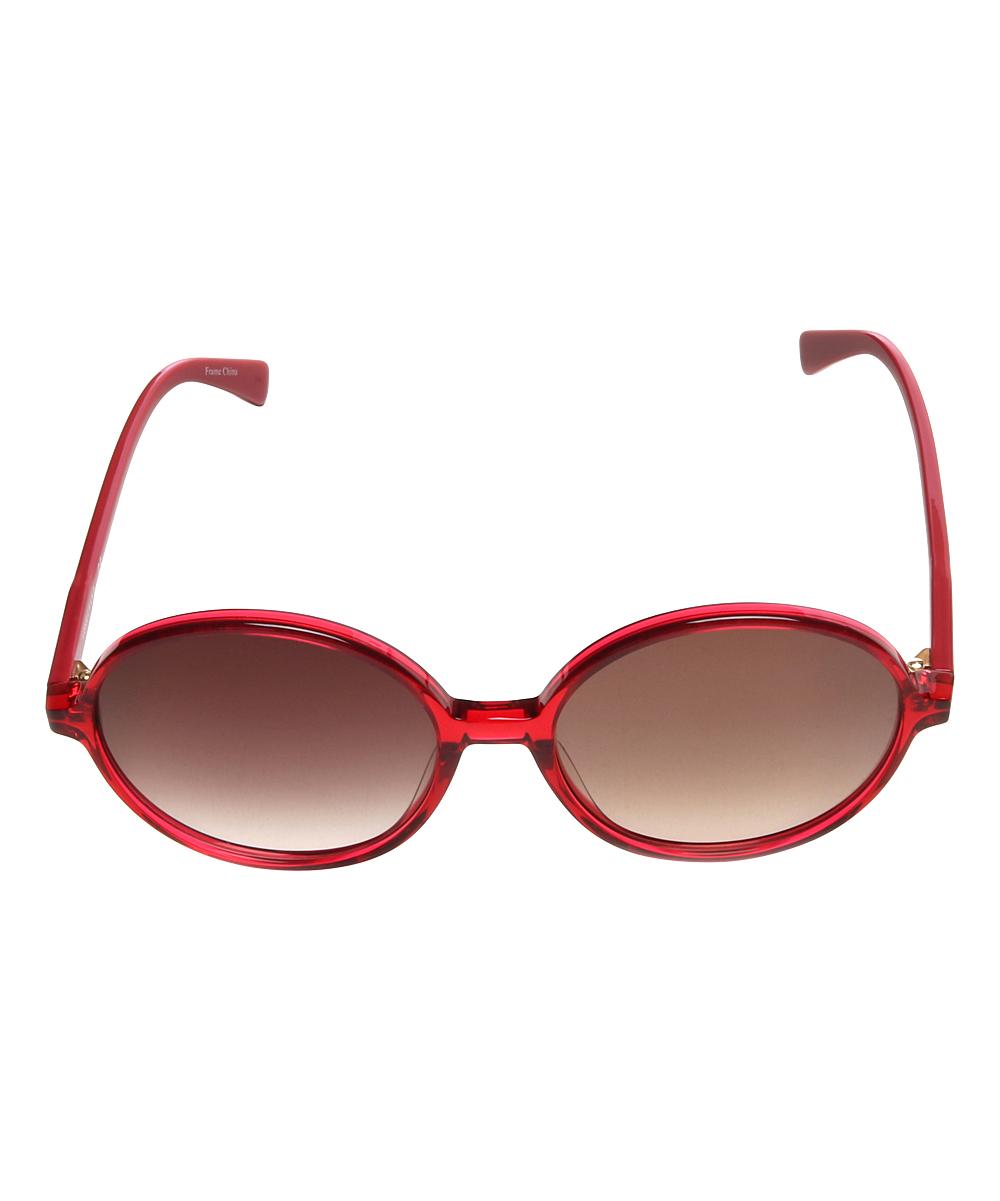 1194445129 ... Womens CHERRY Frame RED Lens Cherry Red Round Sunglasses - Alternate  Image 2 ...