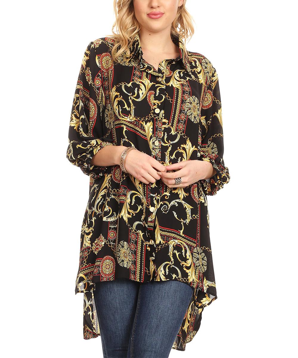 Karen T. Design Women's Tunics MULTI - Black & Red Status High-Low Tunic - Plus