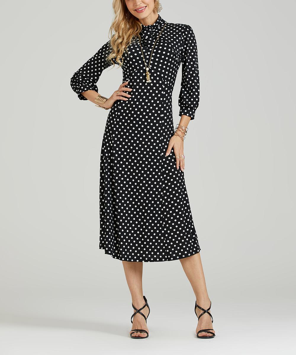 1698ed7afe9 Suzanne Betro Dresses Black & White Polka Dot Midi Dress - Plus