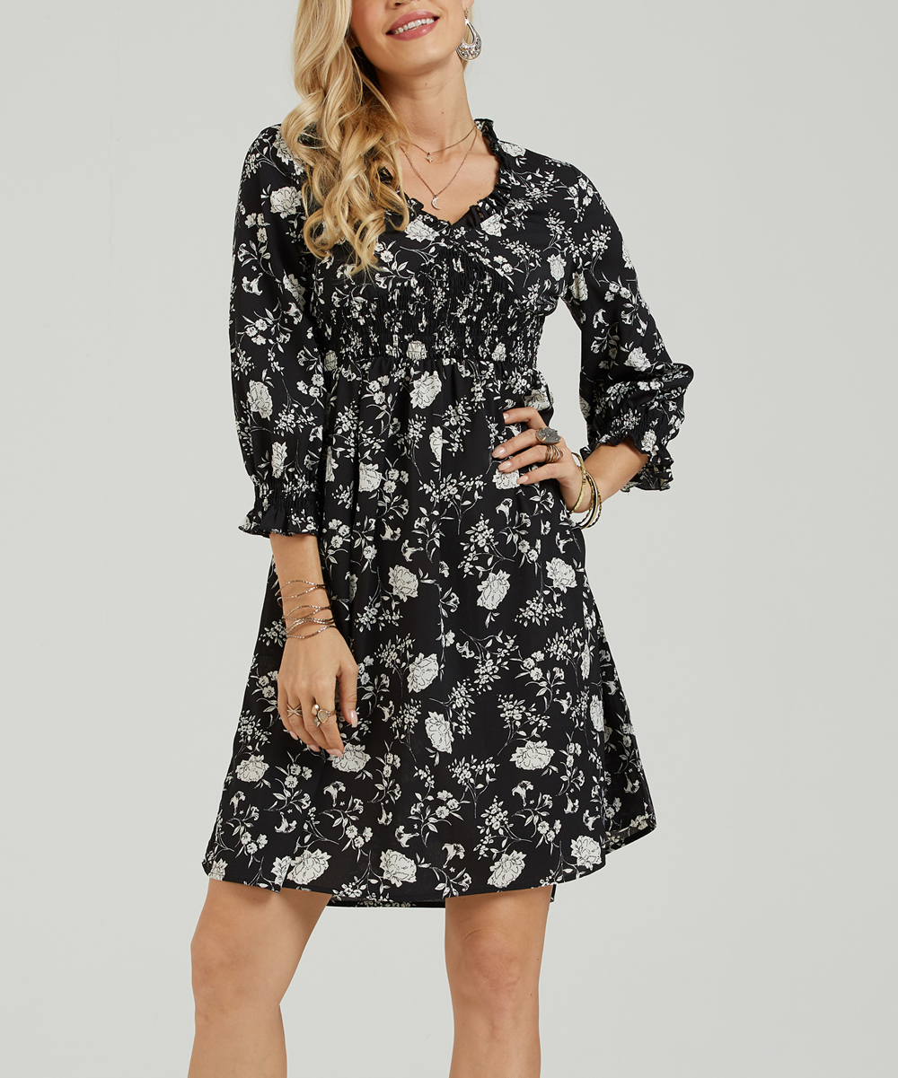 c0ca73b08f Suzanne Betro Dresses Black   White Floral Fit   Flare Dress - Women ...