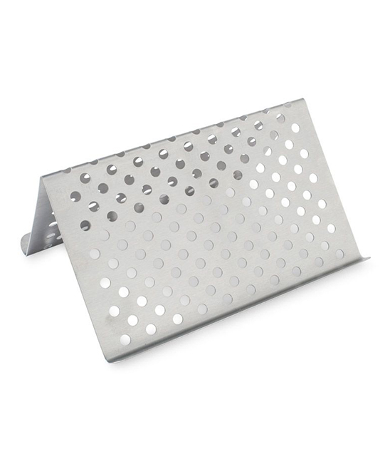Stainless Steel Grill Tent Stainless Steel Grill Tent. Upgrade your grill accessories with this perforated stainless steel tent that gives food that smoky flavor with ease. 10'' W x 11.3'' H x 5.3'' DStainless steelHand washMade in the USA