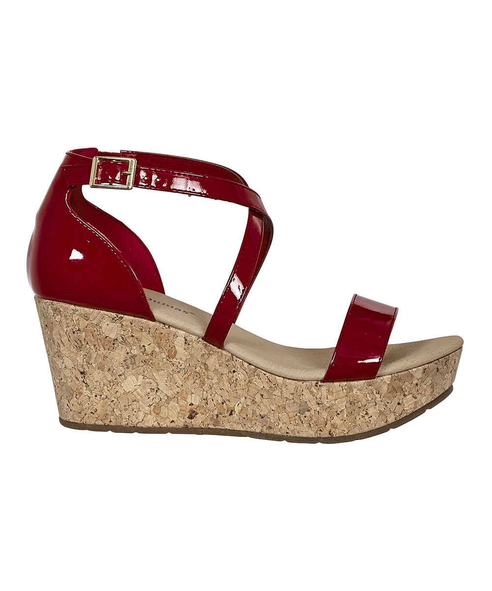 d22026328d5 Pierre Dumas Red Patent Crisscross Natural Wedge Sandal - Women