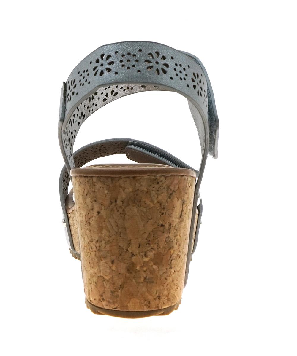 5e63990d454 Pierre Dumas Silver Perforated Strap Giselle Wedge Sandal - Women ...
