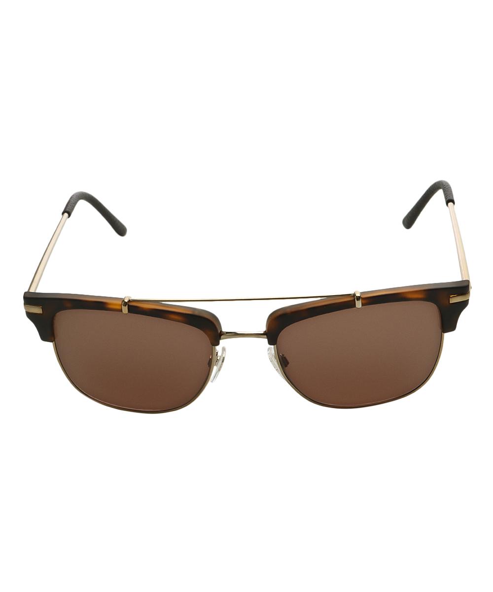 4ad6f3e6c5 Burberry Brown Havana   Goldtone Double-Bridge Cat-Eye Sunglasses ...