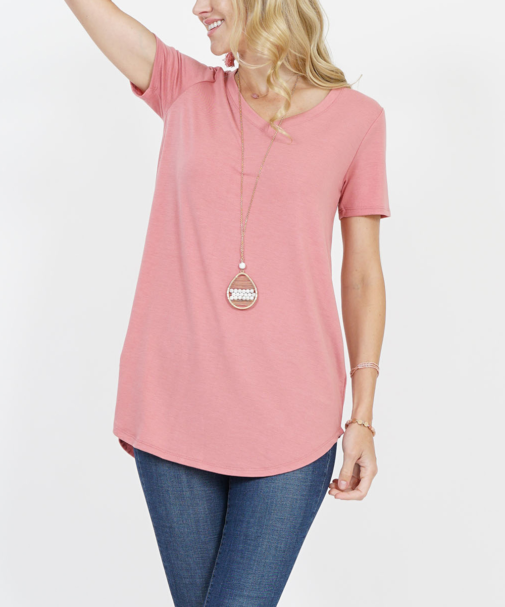 2d8487ea5cd love this product Dusty Rose V-Neck Short-Sleeve Curved-Hem Top - Women &  Plus