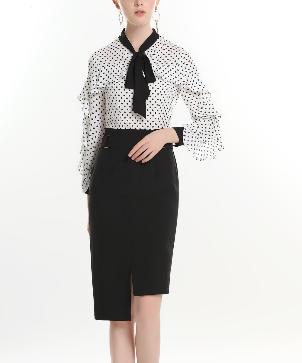 Burryco White Black Polka Dot Ruffle Tie Neck Long Sleeve Dress