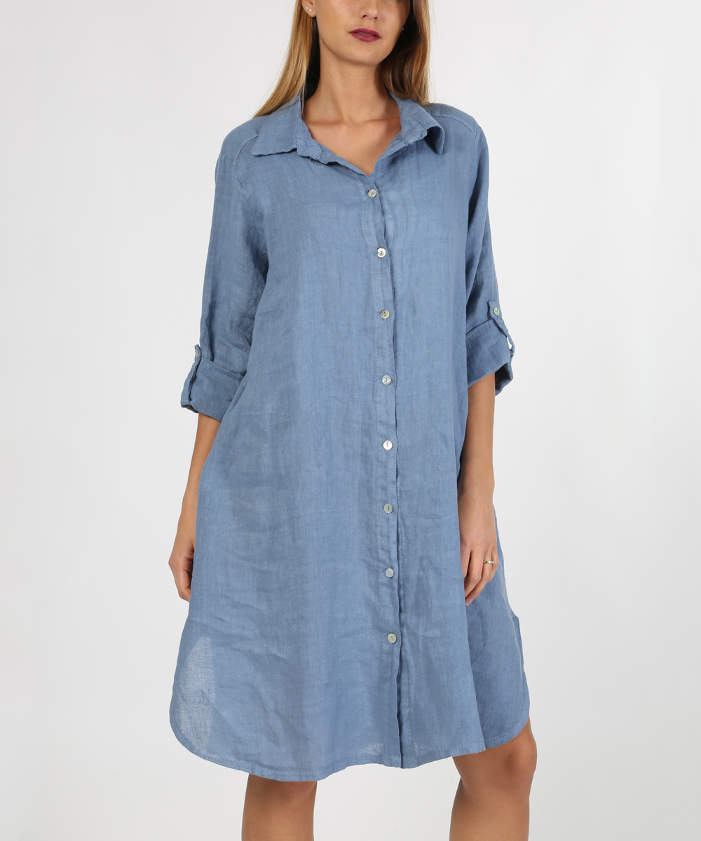 Laklook Blue Button Tab Sleeve Linen Shirt Dress Women Zulily