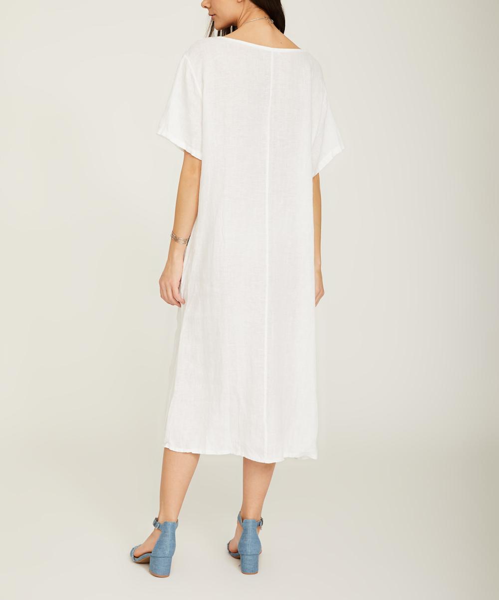 love this product White Floral Linen Midi Dress - Women ecd3a0c570