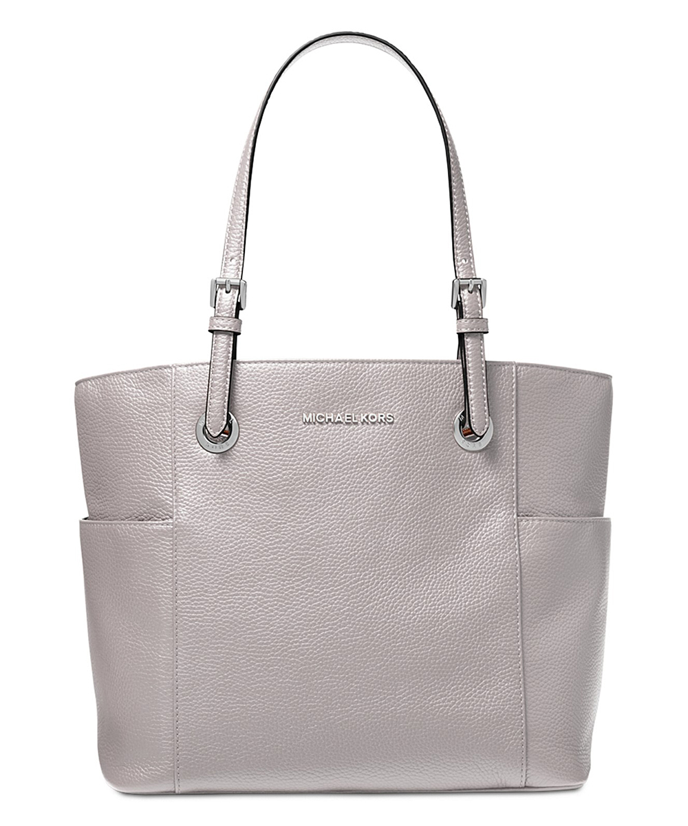 Ash Gray Jet Set Travel East West Pebble Leather Tote