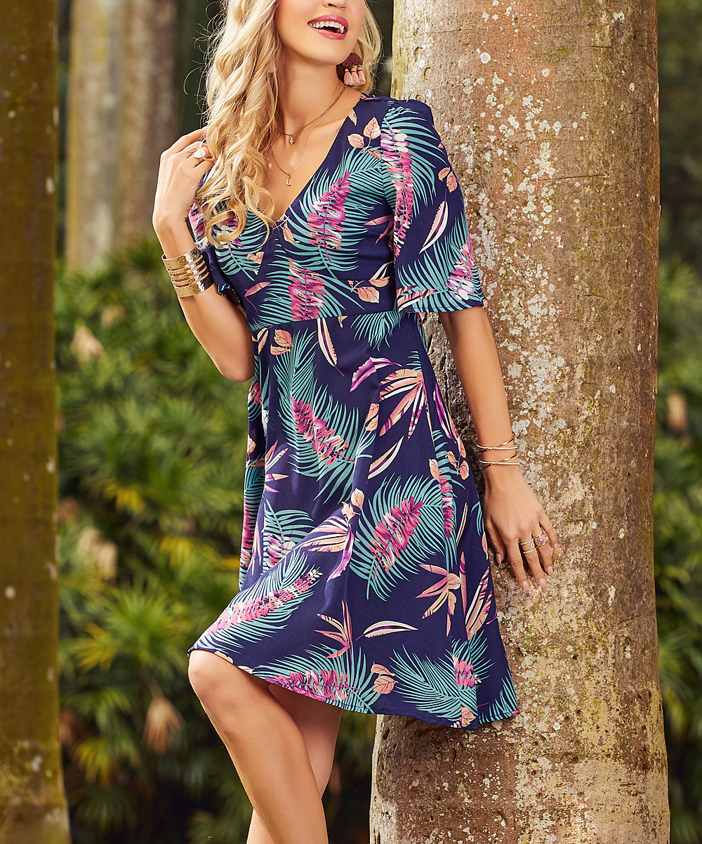 f64b7bbf95 Suzanne Betro Dresses Navy & Pink Tropical Fit & Flare Dress - Plus ...