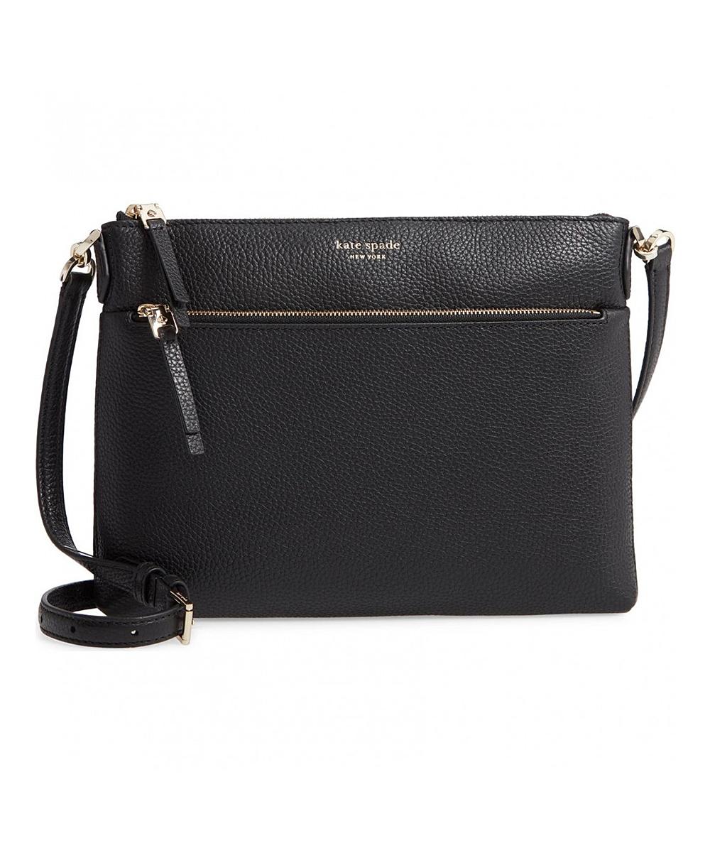 f9e45d50ff738 Kate Spade Black Leather Medium Polly Crossbody Bag