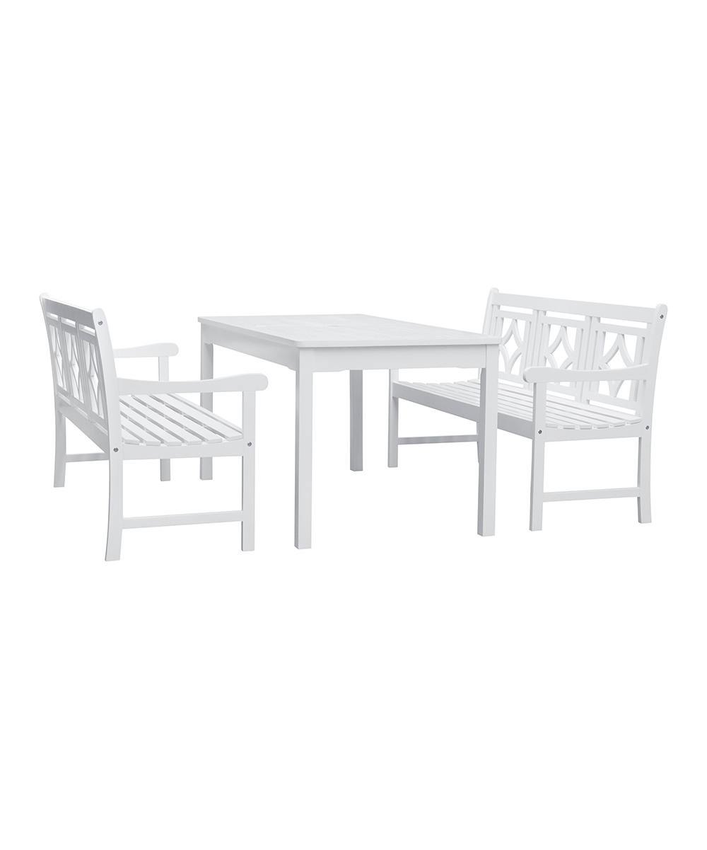 Vifah Bradley Outdoor Three Piece Wood Patio Rectangular Table Set