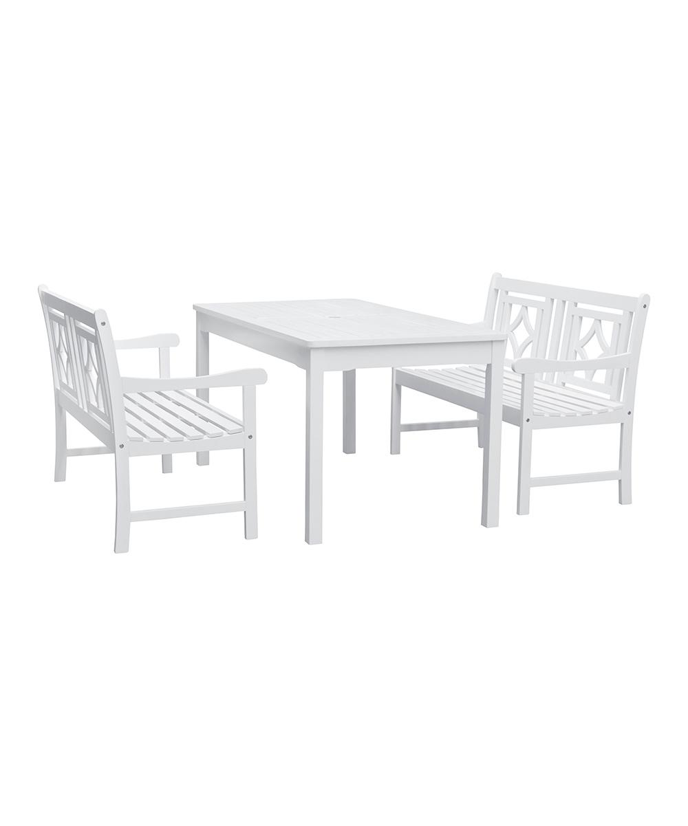 Vifah White Bradley Outdoor Three Piece Wood Patio Rectangular Table Set