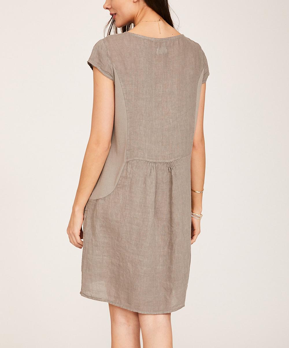 df6daae0e2b Ornella Paris Taupe Floral Pocket Linen Cap-Sleeve Dress - Women ...