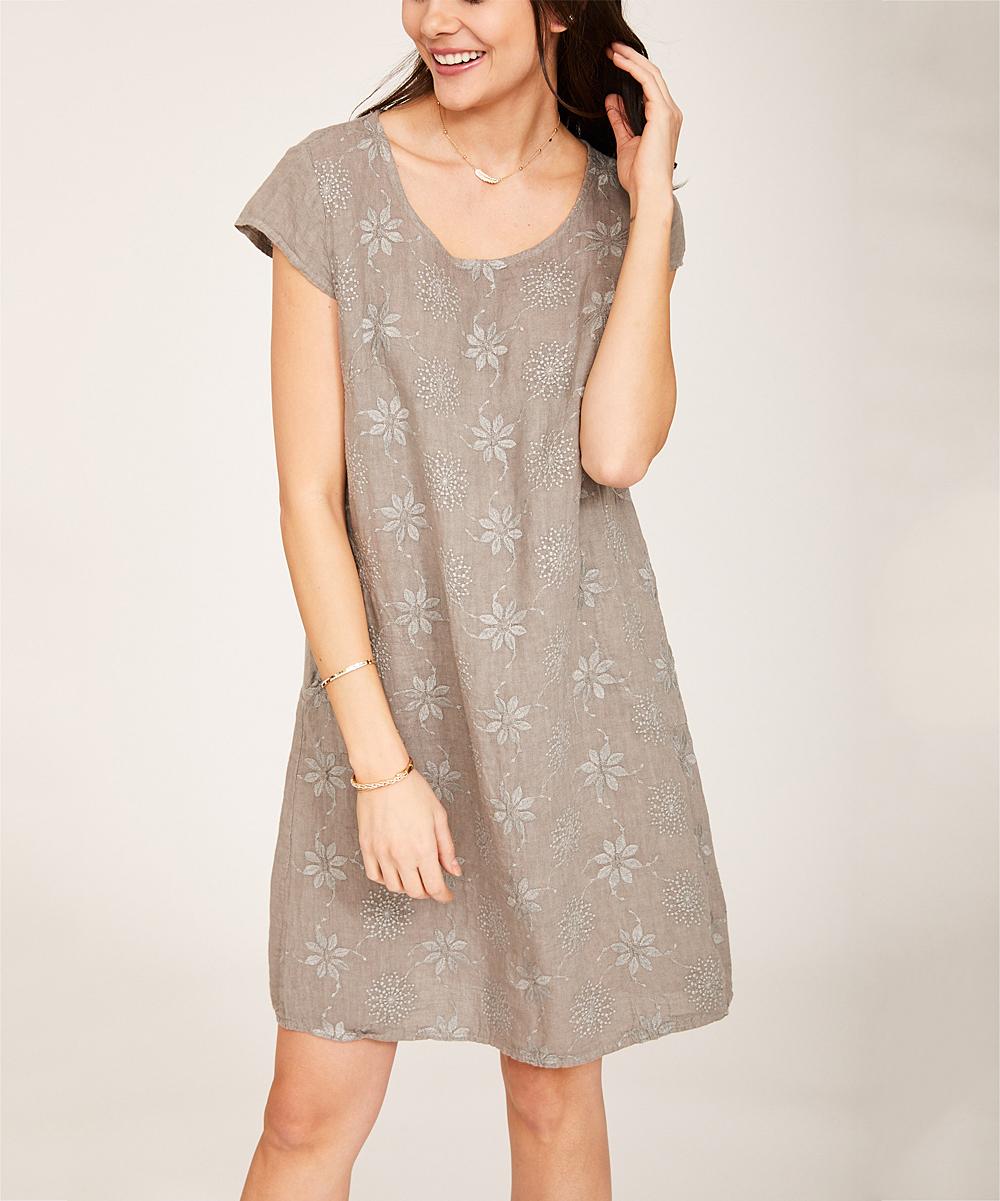 c9149b17faf ... Womens Taupe Floral Pocket Linen Cap-Sleeve Dress - Alternate Image 5