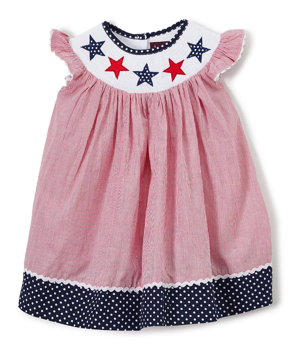 c71034c462d9 Lil Cactus Red Americana Smocked Bishop Dress - Infant, Toddler ...