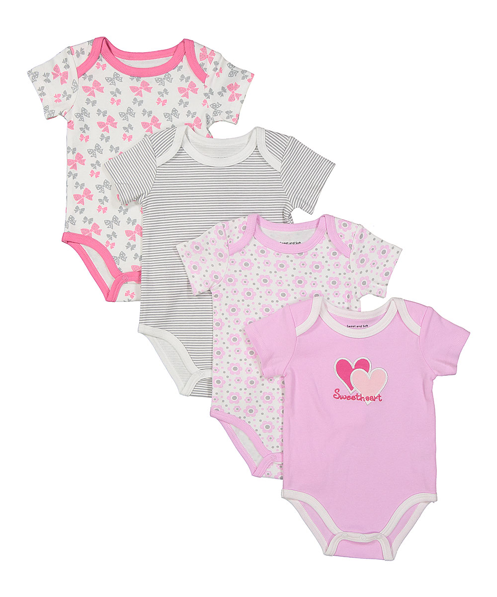 Sweet & Soft Girls' Infant Bodysuits  - Pink & White Floral 'Sweetheart' Four-Piece Bodysuit Set - Newborn & Infant