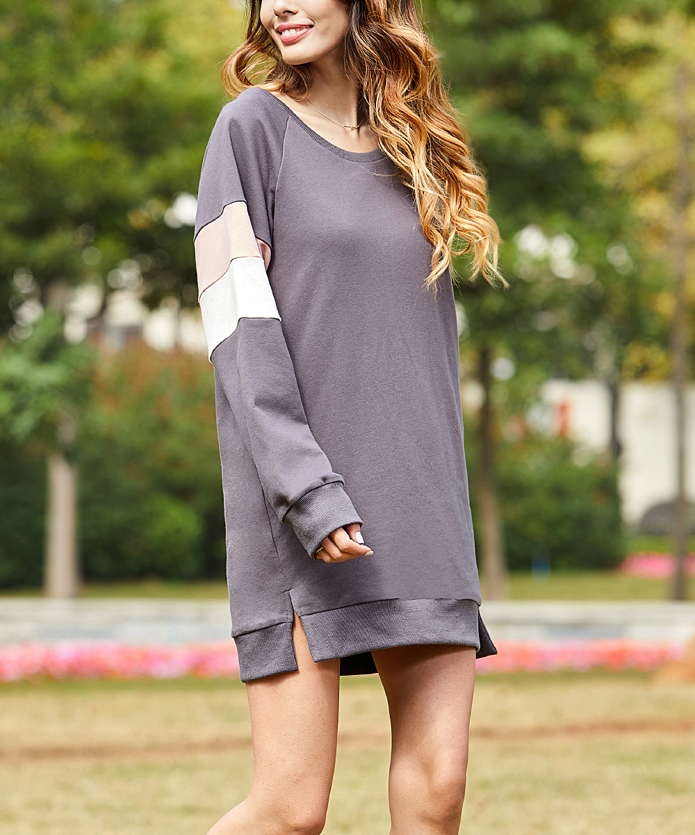 5c39c8c93995 Z Avenue Gray   Peach Color Block Sweater Dress - Women   Plus