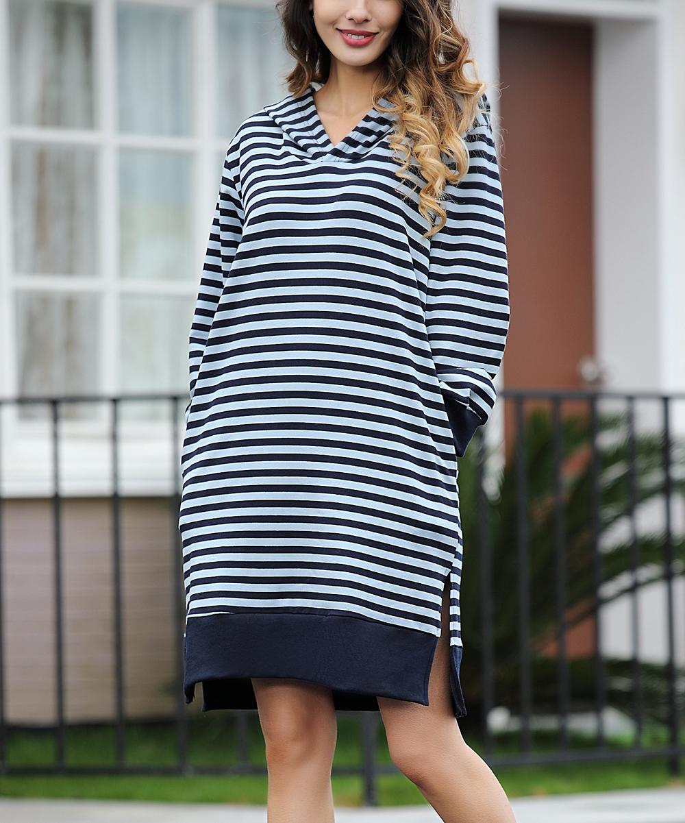49aedf3d7440 Z Avenue Navy & Light Blue Stripe Side-Pocket Hooded Dress - Women ...