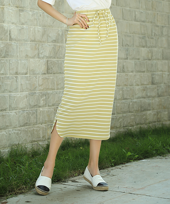 2e40056d58 Z Avenue Yellow & White Stripe Midi Skirt - Women & Plus | Zulily