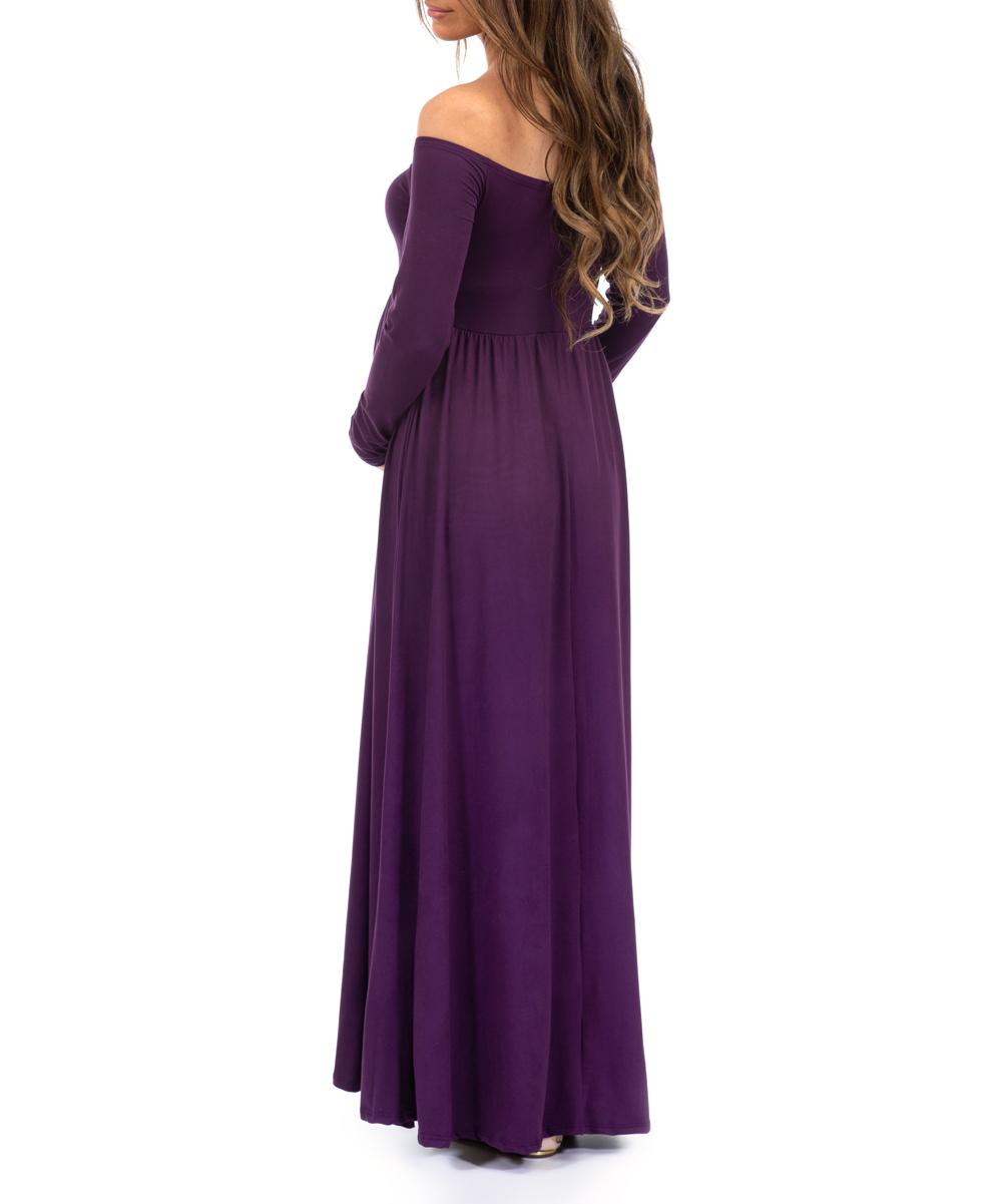 b6ec1d709cd34 ... Womens Eggplant Eggplant Ruched Open-Shoulder Maternity Dress -  Alternate Image 2