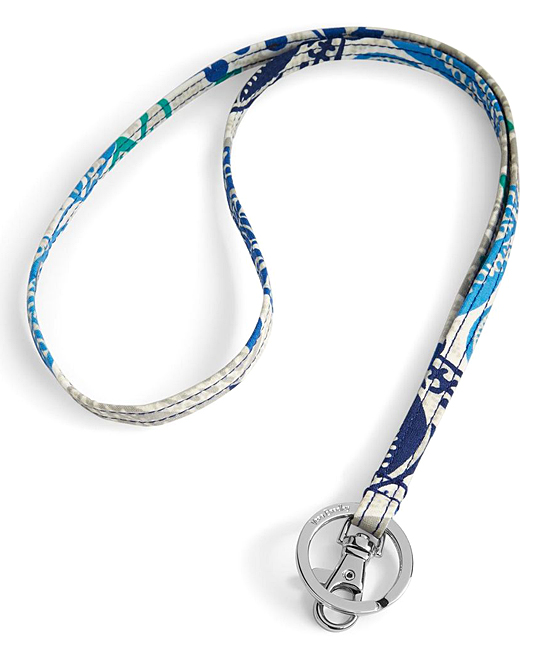 Santiago Lanyard Santiago Lanyard. Anchor your ID badges, keys or other accessories to this colorful lanyard for safe and effortless display, retrieval and transportation.0.5'' W x 18.5'' LCottonSignature key ringID clipImported