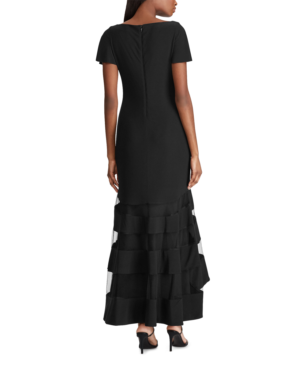 de5dc4d2375 ... Womens BLACK BLACK Black Tulle-Panel Hi-Low Gown - Alternate Image 3