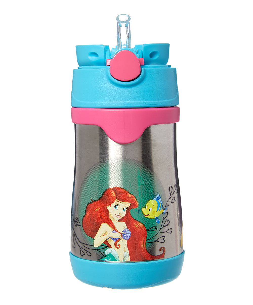 Disney Princess Straw 10-Oz. Thermos Disney Princess Straw 10-Oz. Thermos. This handy thermos combines entertainment-loving panache with travel-ready convenience thanks to heat-trapping stainless steel, a pop-out attached straw in the lid and an adventurous graphic. Includes thermos, lid and attached strawHolds 10 oz.Stainless steel / plasticDishwasher-safeImported