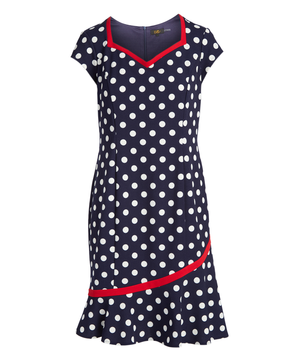 260ca81b9d6 Navy   White Polka Dot Red-Trim Sweetheart Dress - Women
