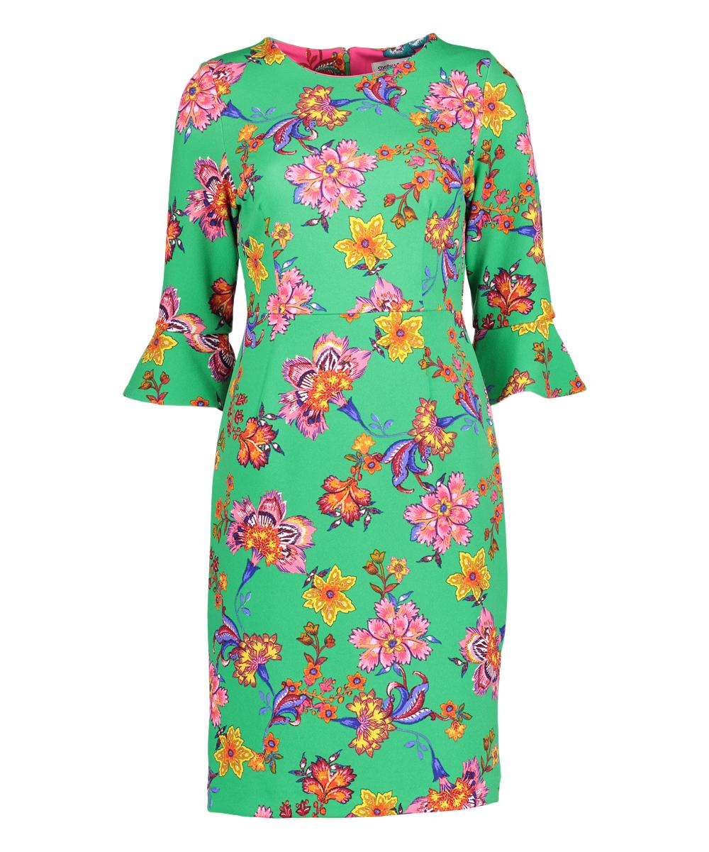Shelby Palmer Green Pink Floral Bell Sleeve Sheath Dress Women